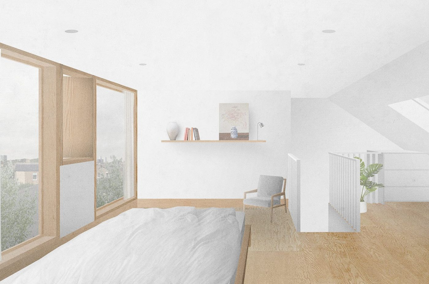 Interior view of the master bedroom within the proposed rear dormer extension and loft conversion at Claude Road, London designed by From Works.