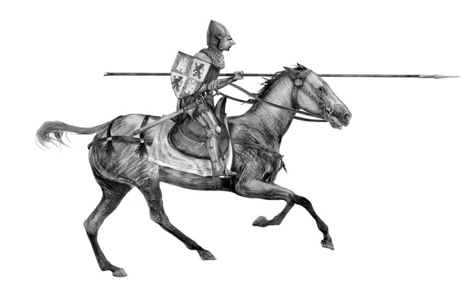 Praxinoscope illustration - Castilian knight in armour charging on horse - black and white drawing.