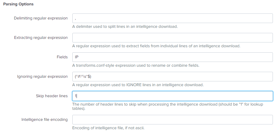 Intelligence Download Settings