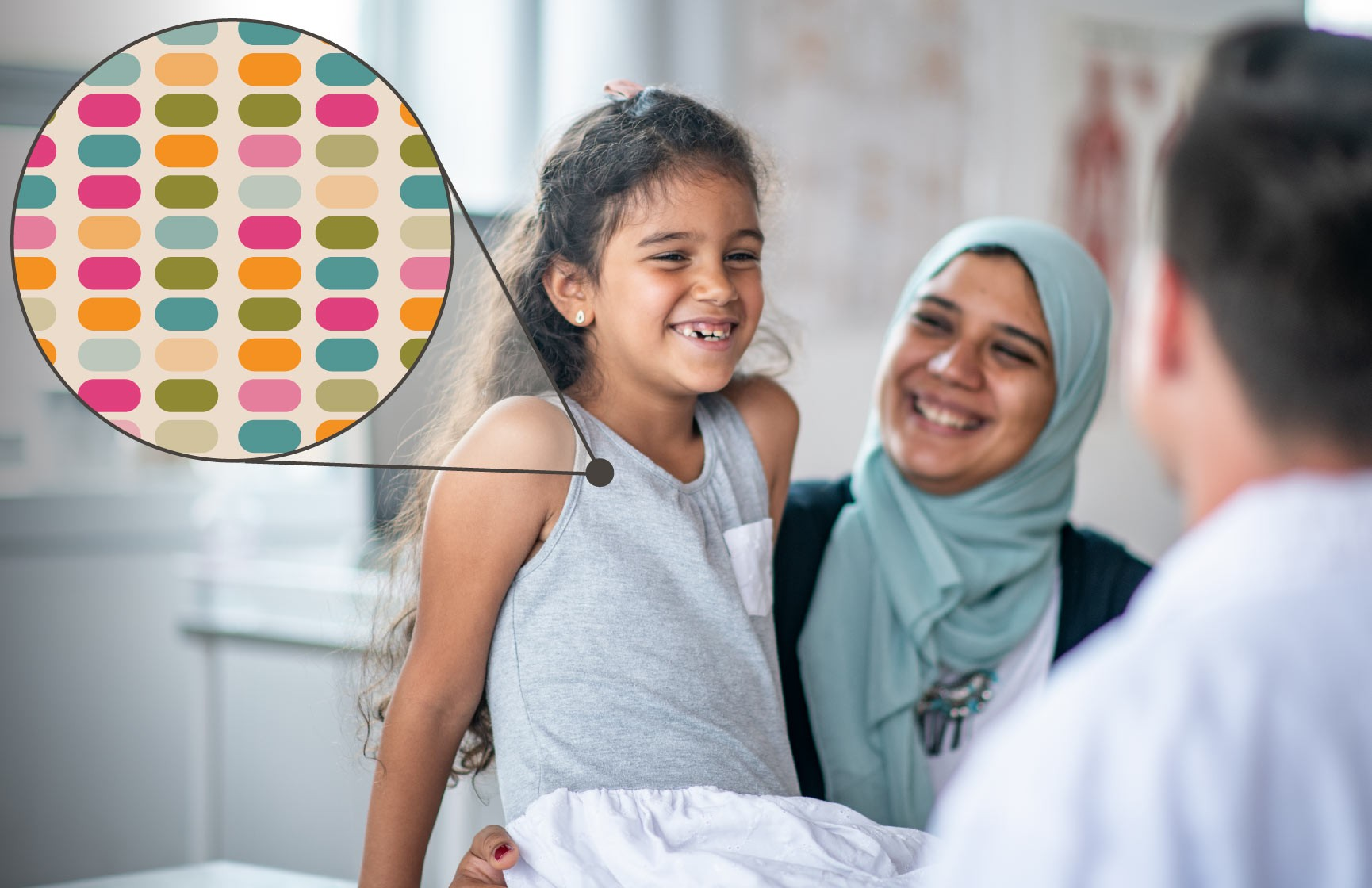 A young child and her mother meet with a doctor to discuss her genomic sequencing results