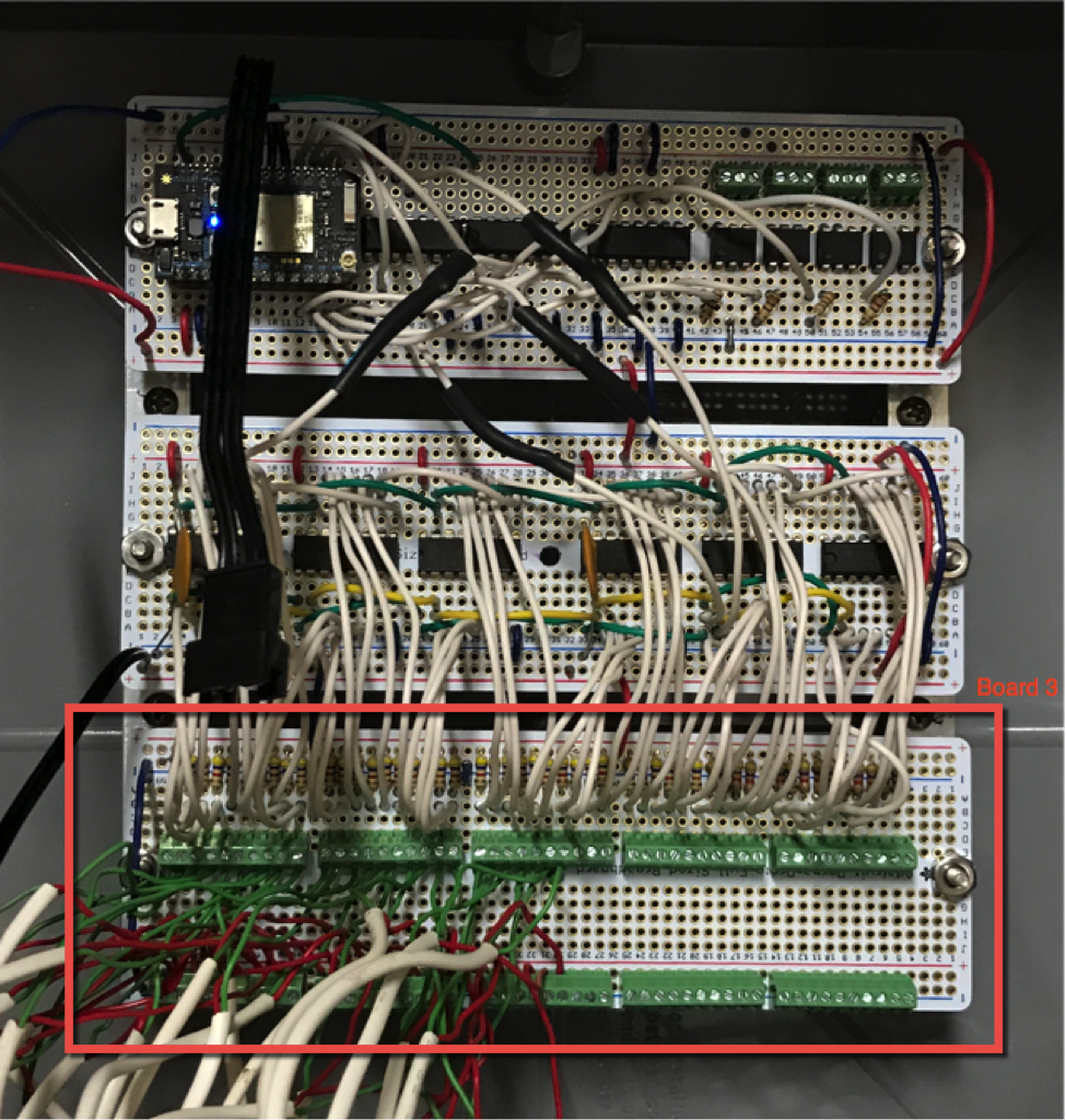 How I Built My Own Homebrew Alarm System Using Particle And Ok Finally Located Wiring From Other Computer The Third Lowest Board Is Simply A Terminal Strip With Screw Down Terminals For Set Of Wires Coming Each Door Or Window