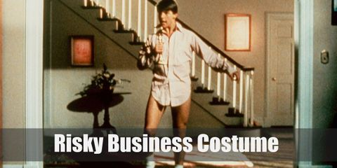 All you need for risky business costume is a huge white long-sleeved dress shirt, a very short pair of white shorts, long white crew socks, white sneakers, and black glasses. Easy-peasy!