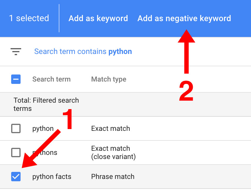 Add Negative Keywords in AdWords