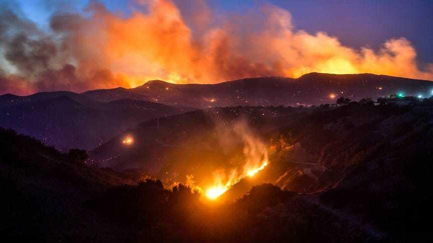Hills in flames