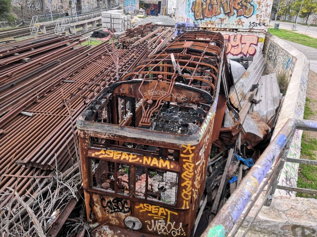 Burned rusting train wagon
