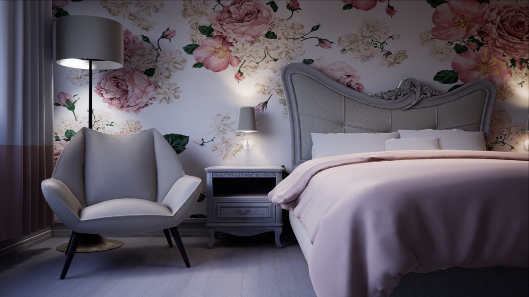 Real time architectural visualisation of a bedroom in Unreal Engine 4