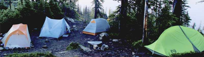 Tents at Woody Gap on the Pacific Crest Trail