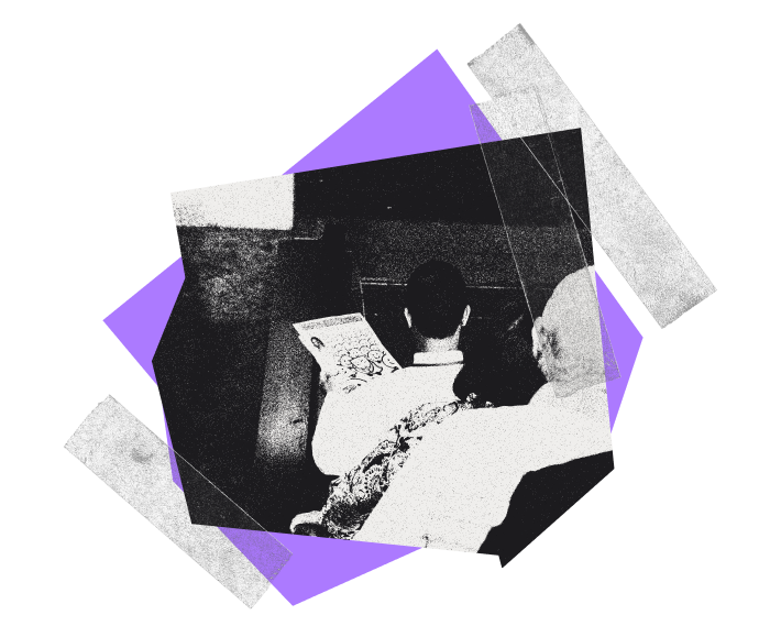 Collage made up of purple abstract shapes, transparent tape flanking a photograph of a three people going down an escalator with a man holding a newspaper.