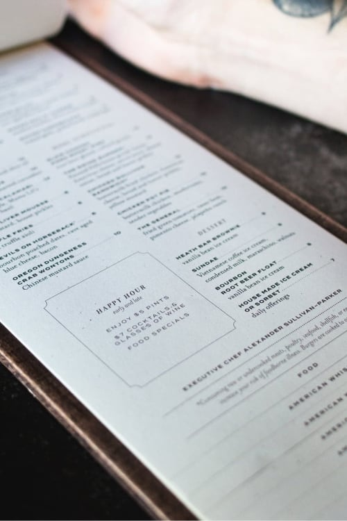 Swank and Swine restaurant menu design