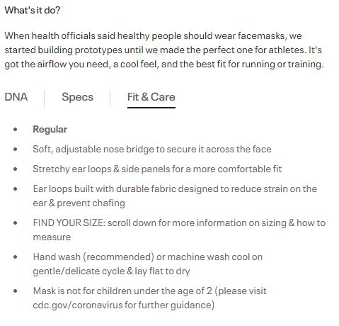 Facemasks descriptions