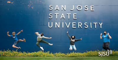 A diverse group of grads jumping mid air and cheering during a clear sunny day on campus with the text SJSU Ranked #1 Most Transformative by Money.