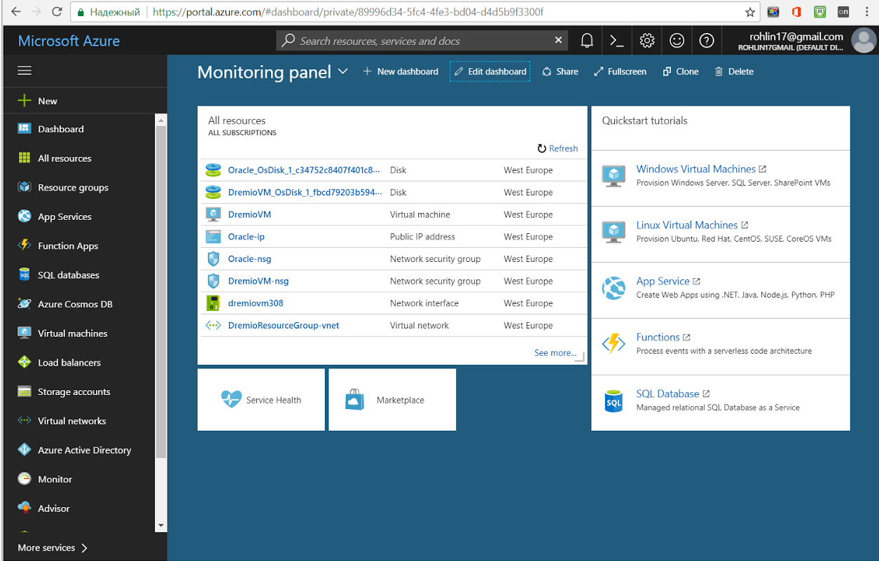 View the Azure dashboard