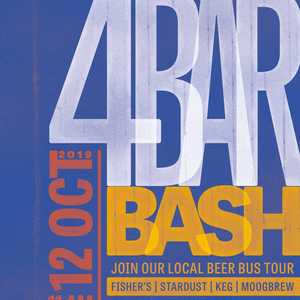 Fishers Brew Co, @moogbrew , @stardustbrewery and @kegbourneend are collaborating to bring you the 4 Bar Bash on 12th October!