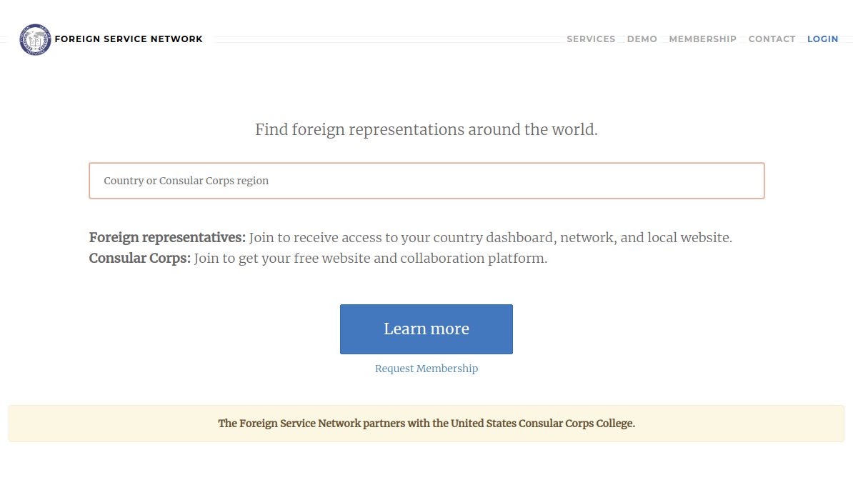 Screenshot of Foreign Service Network