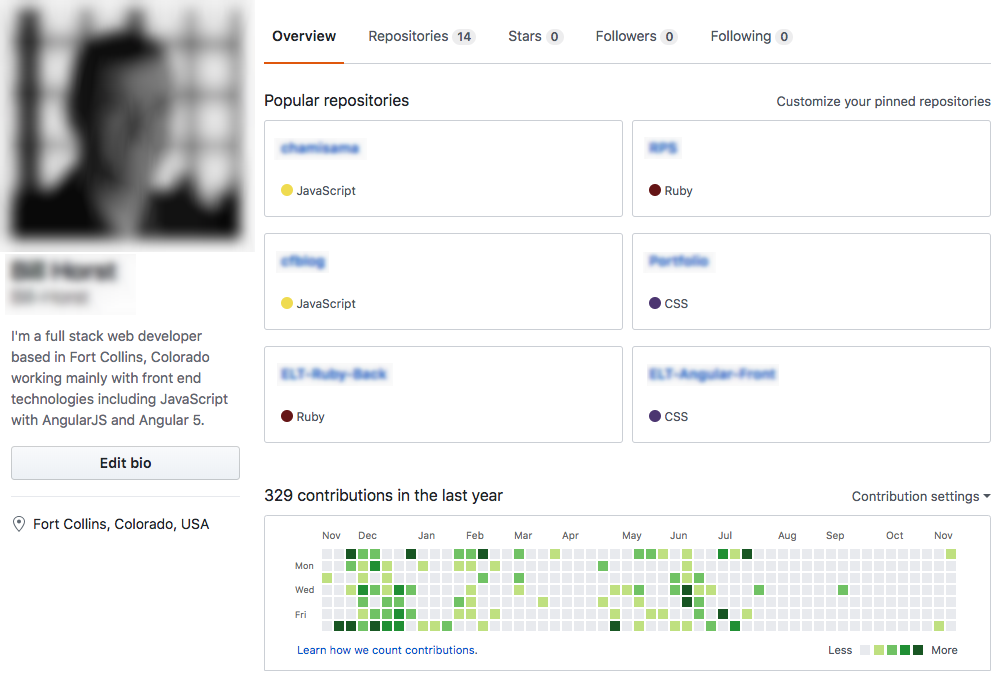 A screenshot of a GitHub user's homepage