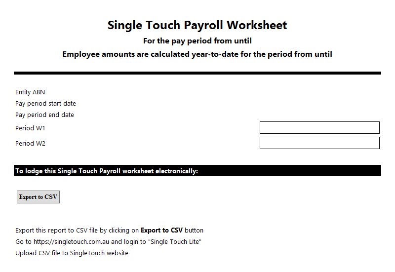Single Touch Payroll Worksheet