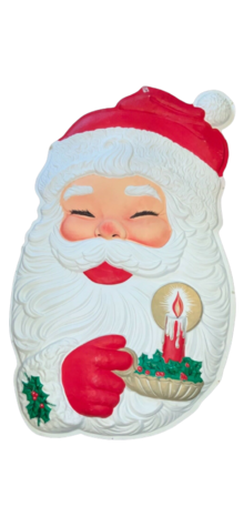 Santa with Candle Plaque photo