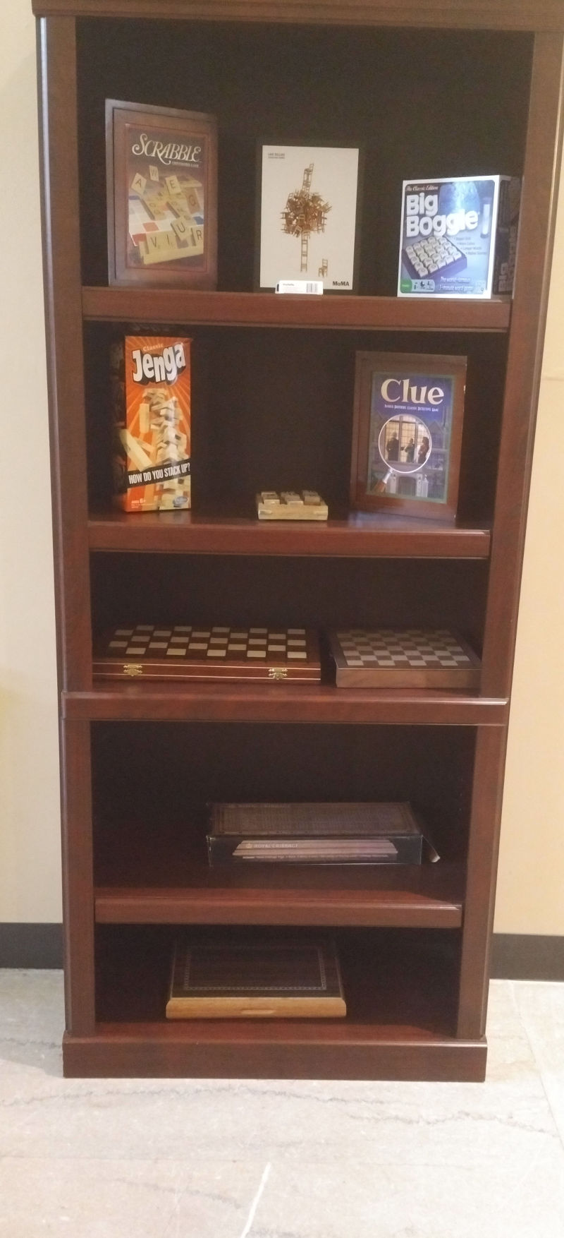 Shelving unit with games