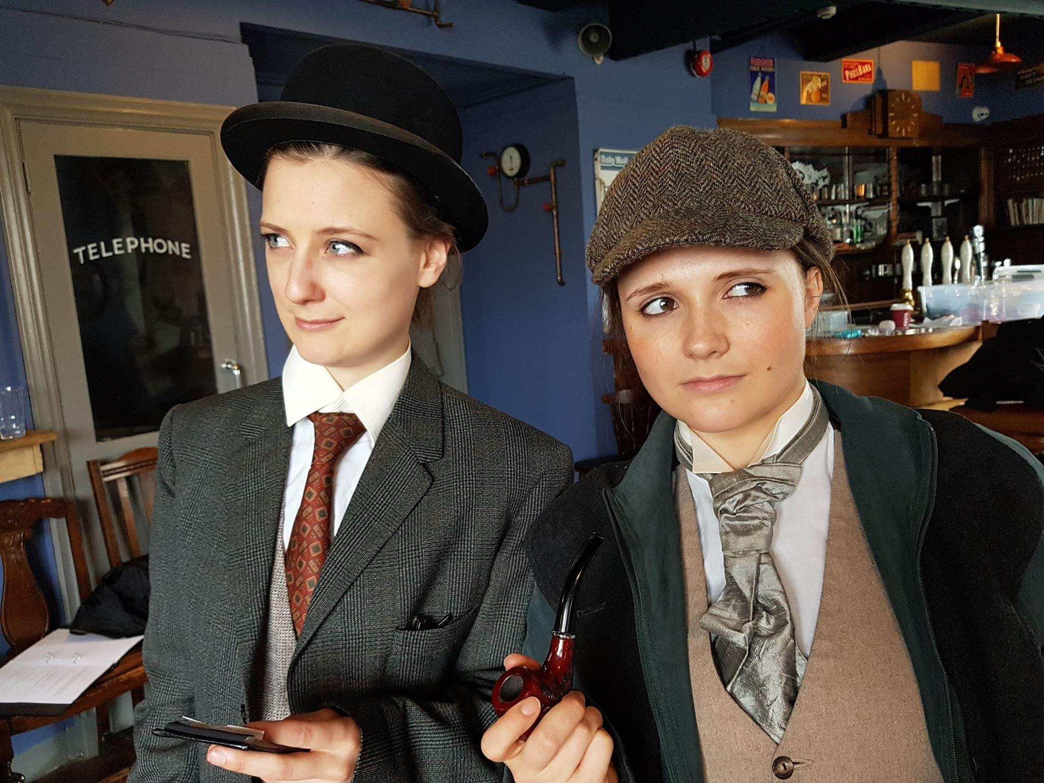 Sophie Milnes and Jasmine Atkins-Smart, rehearsing for The Accidental Adventures of Sherlock Holmes