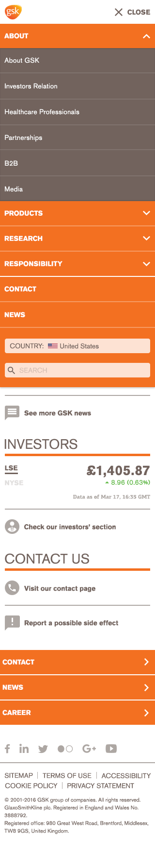 GSK Homepage Redesign Mobile