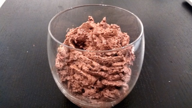 Chocolate mousse, with amaretto and vanilla flavour.