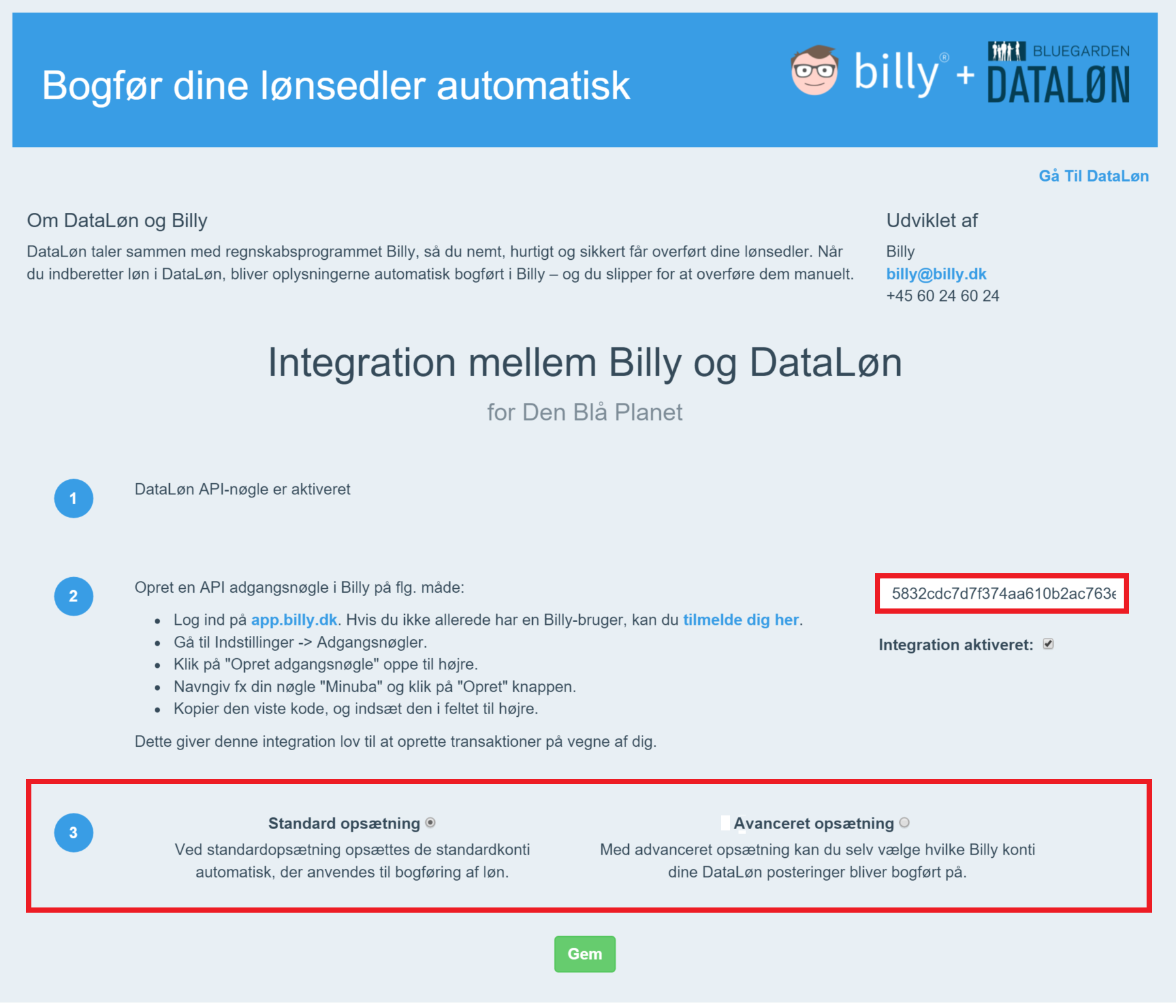 Billy Regnskabsprogram og Dataloen og oprettelse af adgangsnøgle