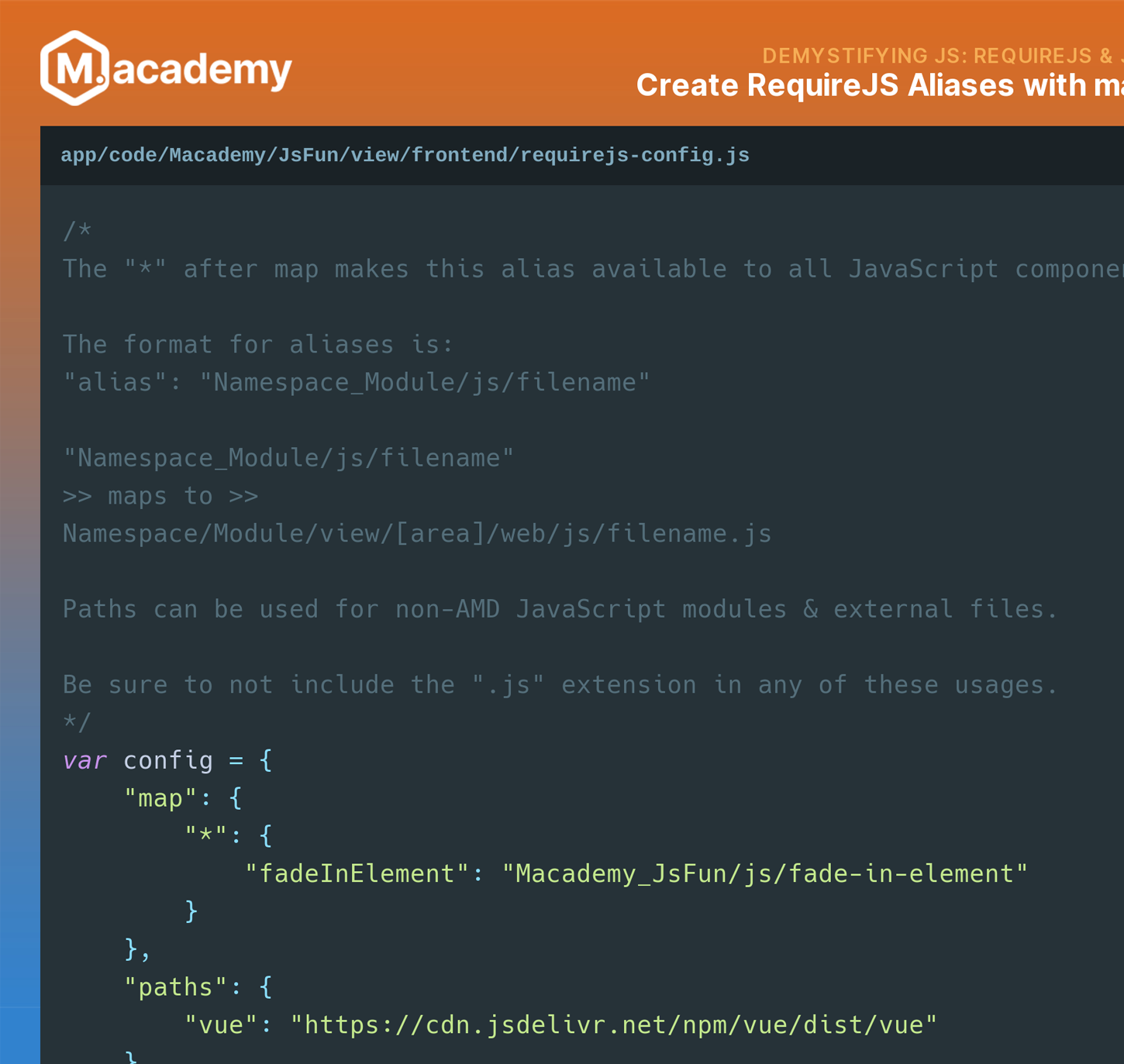 Snippet for RequireJS aliases