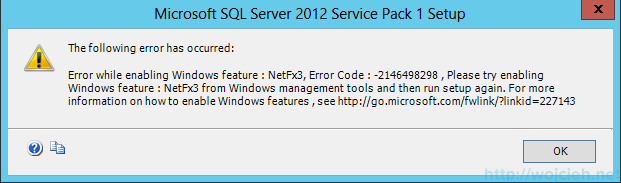 SQL Server 2012 SP1 - NetFx3 error