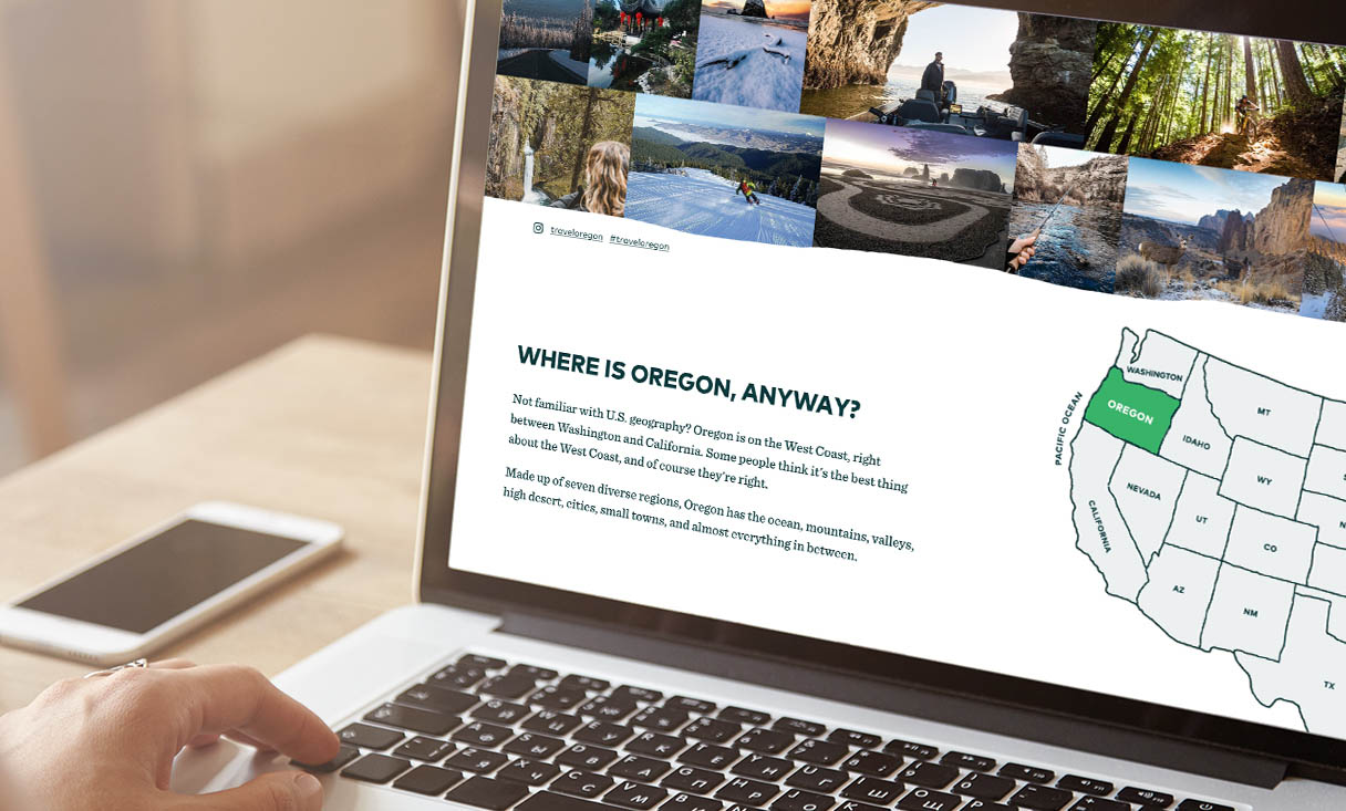 A laptop view of the Travel Oregon website
