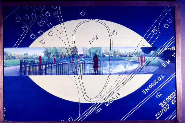 painting of figures in park on a background of schematic map diagram