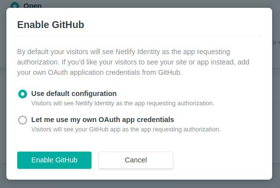 Ativando o GitHub como método de autenticação