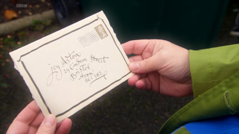 A letter addressed to Joy Aston in Psychoville
