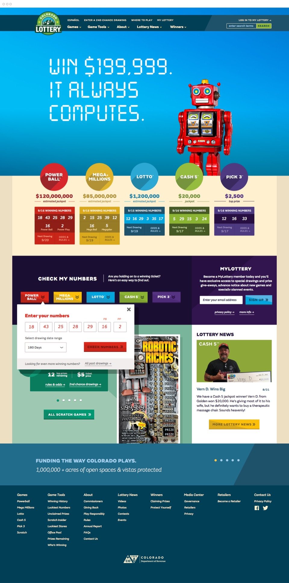 Lottery homepage design
