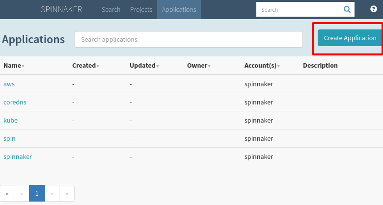 "Highlight the ""Create Application"" button"