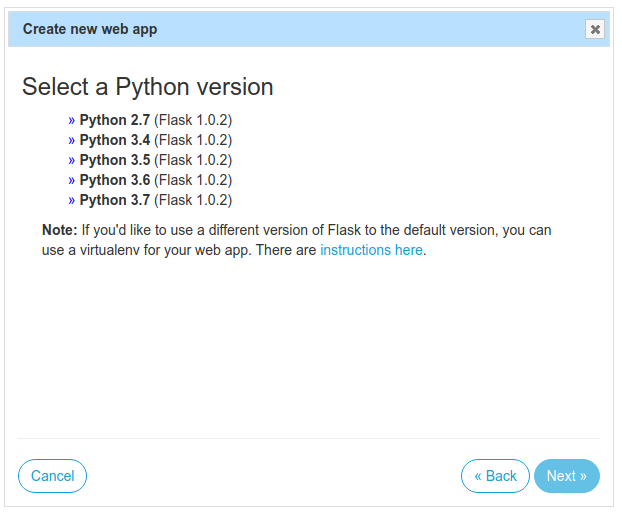 Select a Python version