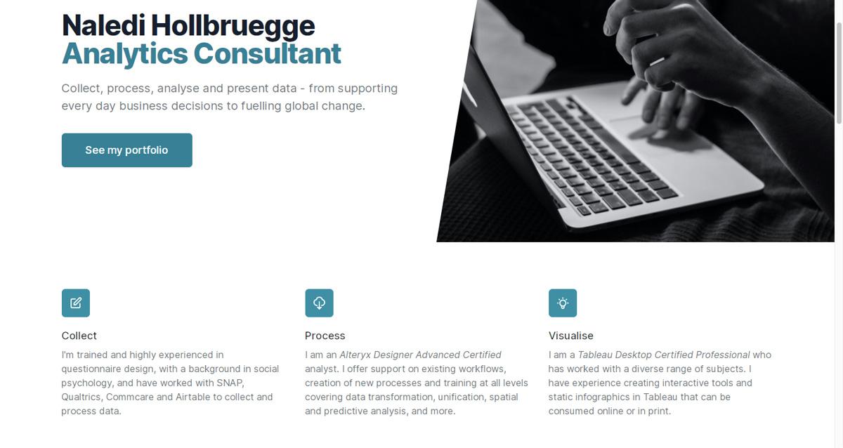 The homepage of Naledi Hollbruegge's data analytics portfolio website