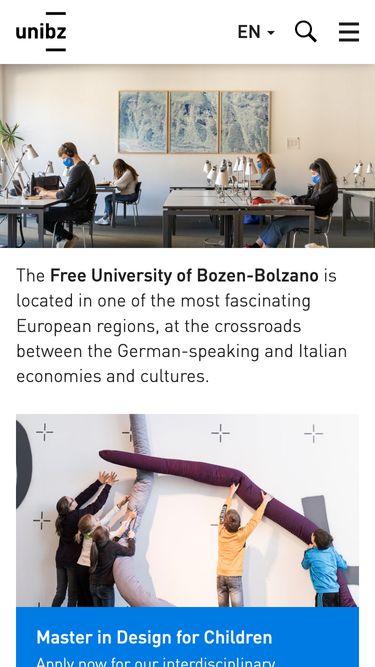 Screenshot of the Unibz homepage