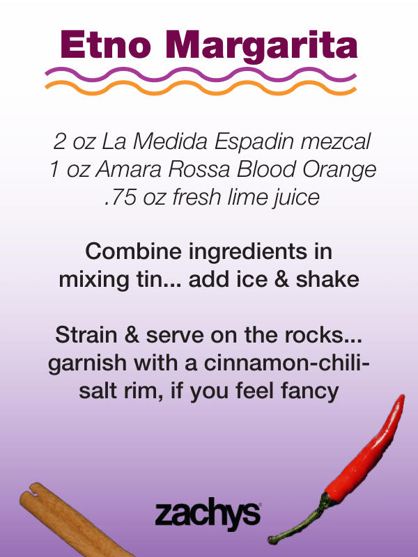etno cocktail recipe card, on purple gradient with pepper and cinnamon