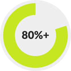 donut chart showing >80%