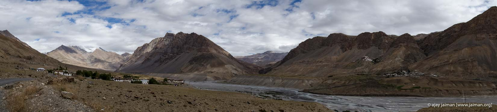 Desolate Spitian landscape. The Ki Gompa is on the right