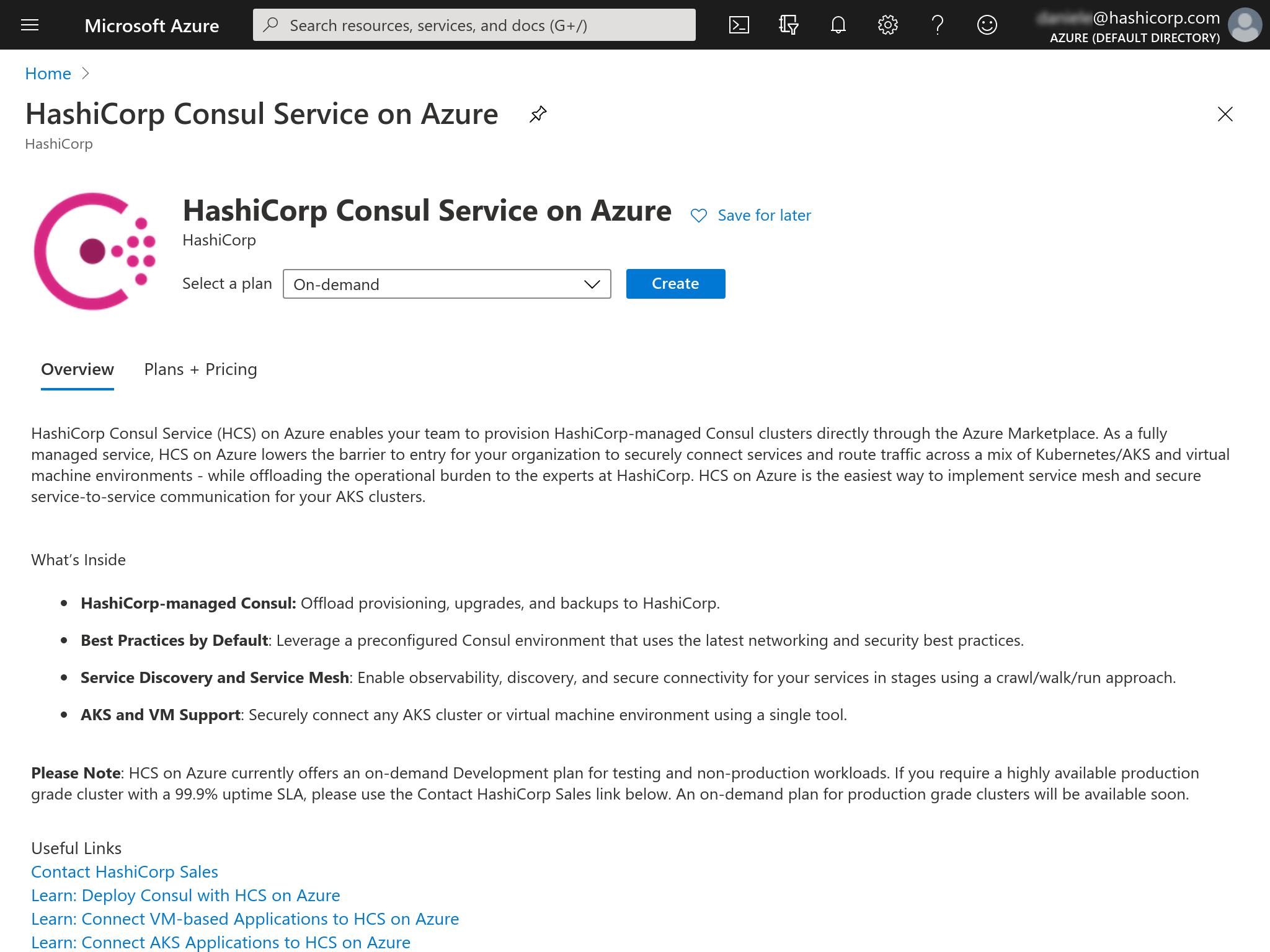 Azure Marketplace create Consul service