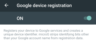 MicroG with device registration enabled