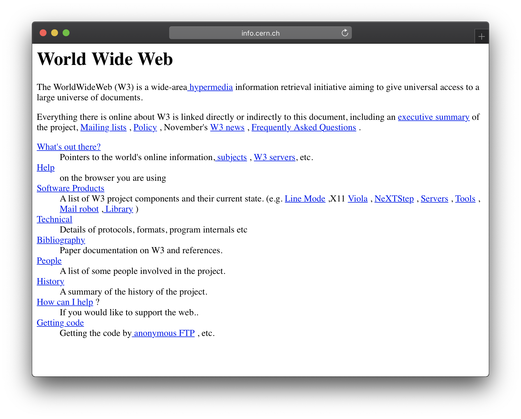 Screengrab of the first website ever, still live.