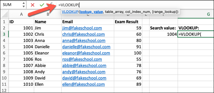 An Excel spreadsheet containing a student class list, with data on student ID numbers, names, email addresses, and their most recent exam results. The VLOOKUP formula has been typed into the formula bar.