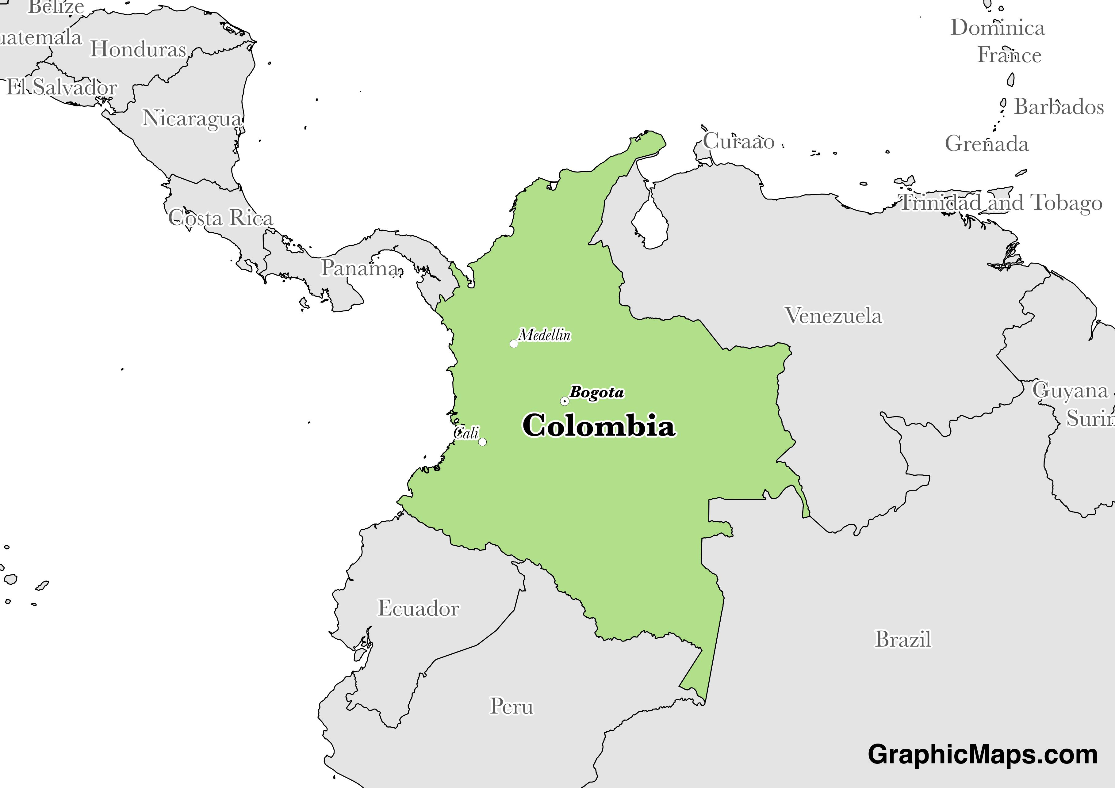 Map showing the location of Colombia