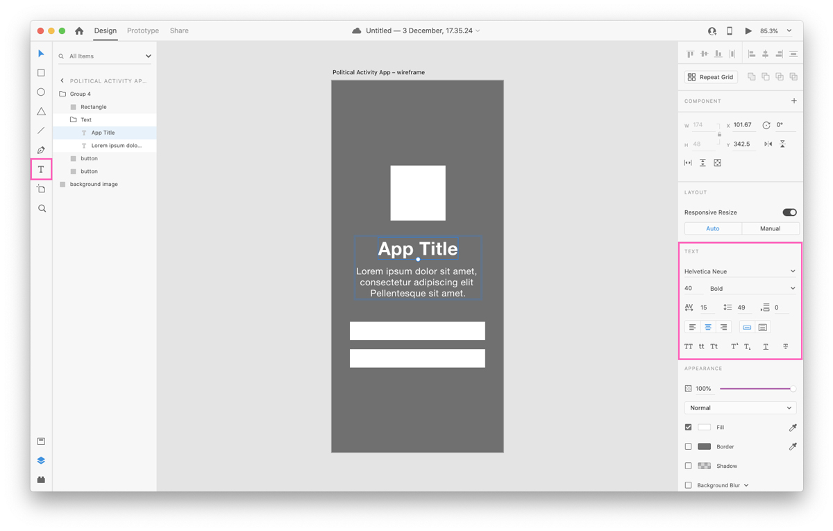 Text functions in Adobe XD