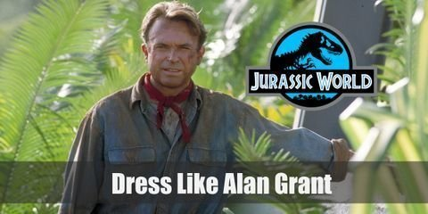 Because Alan Grant is a paleontologist, his style reflects just that. His signature look is the one he wears blue denim shirt with a red handkerchief around his neck and his western style hat