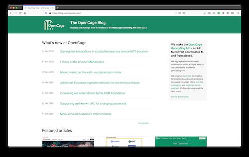 OpenCage blog, new design
