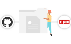 Illustration of the GitHub logo and NPM logo on either side of a person holding a file