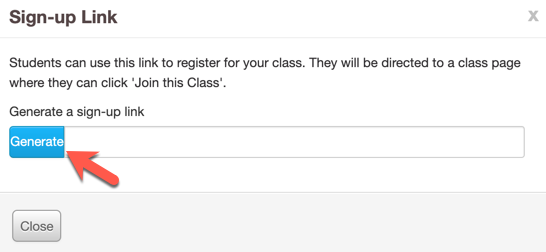 """Screenshot of """"Sign up link"""" panel with an arrow pointing at """"generate"""" button"""
